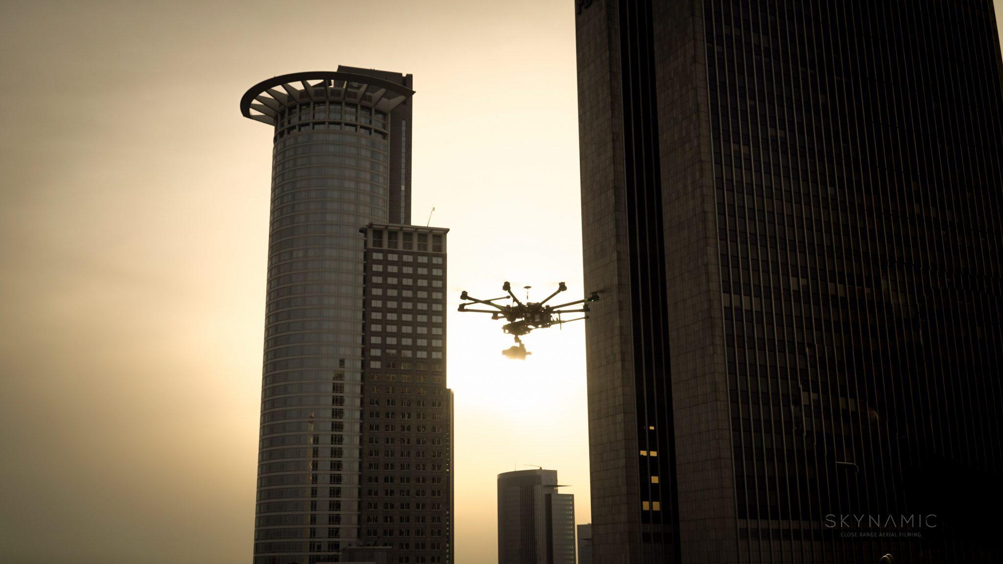 Drohne Skyline Frankfurt Stock Footage Drone