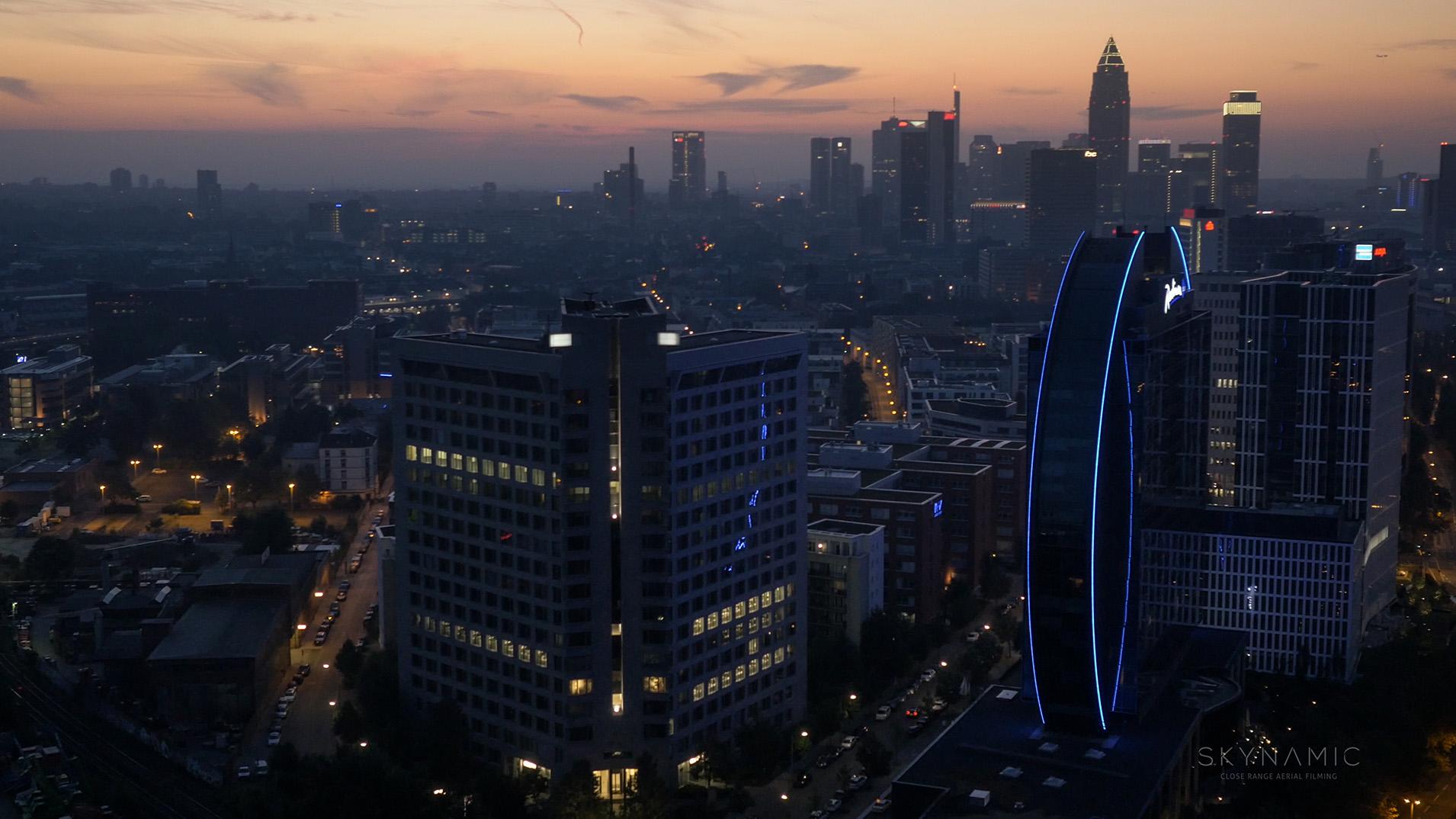 Frankfurt Night Drone Aerial